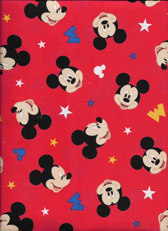 Disney Mickey Mouse Traditional M-I-C-K-E-Y Red 100/% Cotton Fabric Half Yard