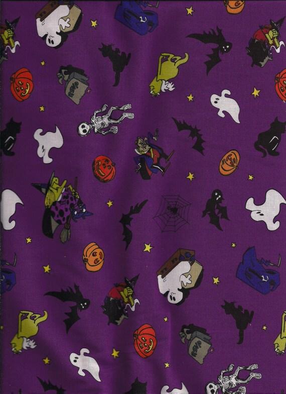 new  Halloween Purple Ghost /& Pumpkin Toss 100/% cotton fabric by the yard