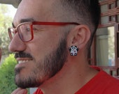 Panda Earrings made of transparent recycled plastics with a red heart and Stainless steel studs