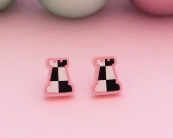 Alternative Chess, Rooks Earrings, Chess Jewelry, Chess Pieces, sustainable earrings, upcycled pink acrylic, chess lovers gifts