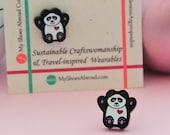 Panda Earrings, Cute animal earrings, Recycled Acrylic Earrings, panda gifts, tiny animal earrings, panda for boys, gothic animal,cute panda