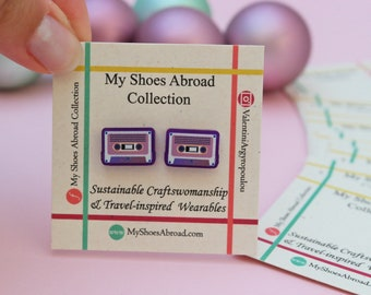 Cassette Tape Earrings, Mix Tape, Ethical earrings, Purple Acrylic, upcycled earrings, cassette tape art, 80s earrings, cassette gift