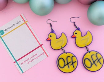 Duck Off Dangle Earrings, Duck Earrings, Upcycled acrylic, Feminist Earrings, fuckoff, Feminist gifts, Upcycled Earrings, sarcastic jewelry