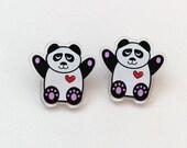 Panda Earrings, Recycled Acrylic Earrings, Animal lover gifts, panda gifts, statement animal jewellery, panda print, perspex earrings
