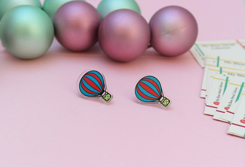 The Not-Hot-Enough Air Balloon Earrings studs made from image 0