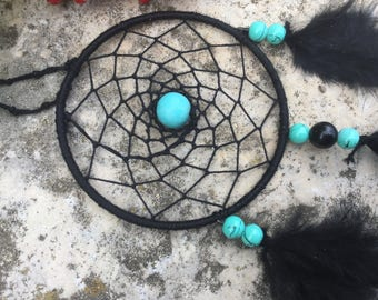 Dream catcher black and turquoise for rear view mirror