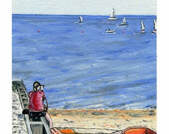 Oil painting, Picture Perfect, Seaside Leisure time Photographer, beach sailing boats Original Artwork