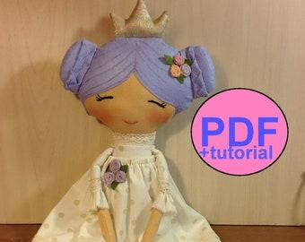 Cloth doll sewing pattern rag doll pattern soft doll making stuff doll textile doll fabric doll plush cotton doll princess heirloom tutorial