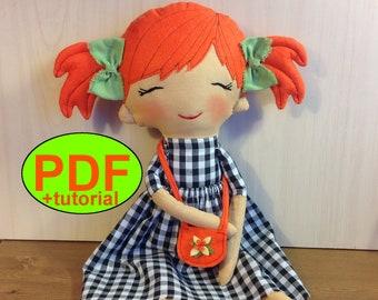 Cloth doll sewing pattern rag doll pattern soft doll making stuff doll textile doll fabric doll plush cotton doll girl heirloom tutorial PDF