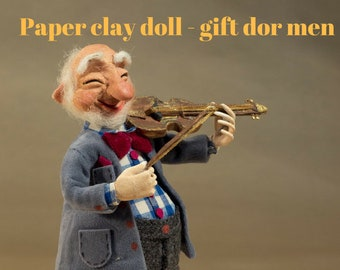 OOAK doll Musician gift art doll Paper clay doll OOAK clay doll Collectible doll Sculpted doll decorative Interior doll violin Paper clay