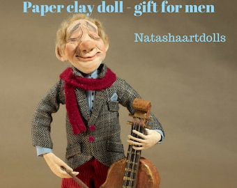 OOAK doll Musician gift art doll Paper clay doll Clay doll Collectible doll Sculpted doll decorative Interior doll cello Paper clay