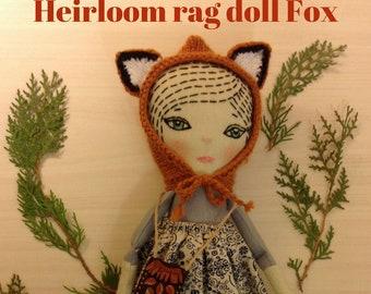 Whimsical doll heirloom cloth doll woodland doll forest doll  fox hat stuff soft doll fabric textile doll embroidered rag doll