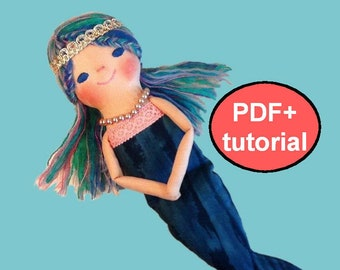Mermaid doll pattern Rag doll sewing pattern Mermaid girl cloth doll pattern tutorial