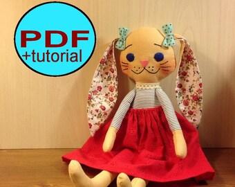 Bunny doll PDF sewing pattern softie pattern woodland doll pattern bunny pattern bunny sewing pattern rabbit rag doll cloth doll pattern