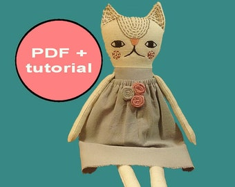 cat sewing pattern cat pattern tutorial cat stuffed animal pattern softie patterns toy sewing tutorial cloth doll pattern toy sewing pattern