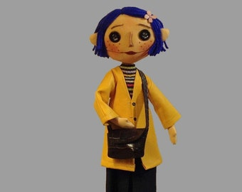 button eyes doll coraline doll goth zombie yellow raincoat cloth doll creepy blue hair doll rag soft textile doll cartoon doll fantasy doll