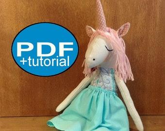 unicorn pattern DIY unicorn sewing pattern tutorial PDF doll pattern stuff unicorn rag doll pattern heirloom doll pattern cloth doll pattern