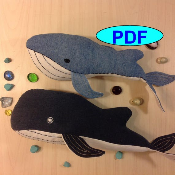 Set two different whales pattern whale sewing pattern tutorial toy ...