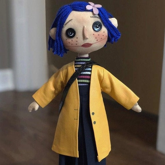 Coraline Doll Button Eyes Cloth Doll Rag Doll Blue Hair Spy Etsy