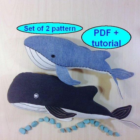 Stuffed Animals Pattern Whale Pattern Whale Sewing Pattern Etsy