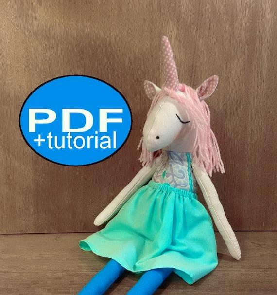 unicorn pattern DIY unicorn sewing pattern tutorial PDF doll | Etsy