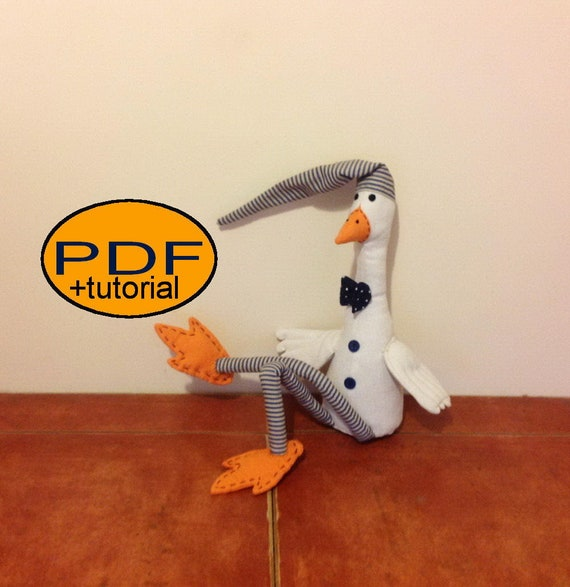 Sewing pattern goose soft goose softie pattern cloth doll