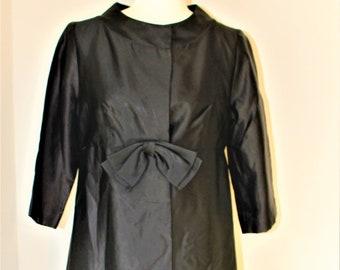b6e570582a9 Vintage 1950s 1960s Black Satin Opera Coat Empire Waist Bow Bracele tLength  Sleeves Coture Hollywood Glamour Formal