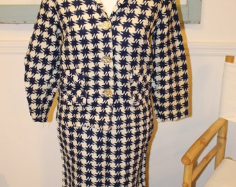 Vintage, 1950s, 1960s, Handmade, Blue and White, Checked, Suit