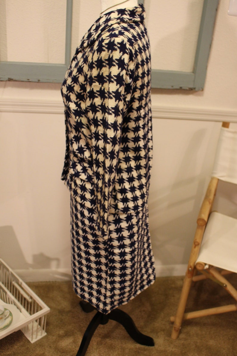 Handmade Blue and White Suit 1950s Checked Vintage 1960s