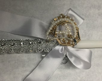Gold and silver cross bracelet lambada easter candle