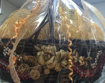 Christmas Flower Gold Elegance Basket