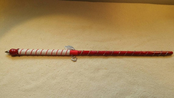 18 Red Magic Wand with Leaf and Dolphin Charms