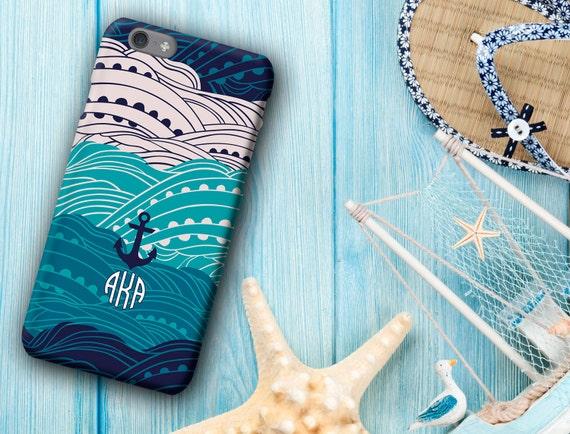 Nautique housse de portable, Ancre, vagues, thème bleu de l'océan, iPhone 8 / 8p/X/6/6 s/6 Plus / 6 s Plus / 5 s, coque iPhone 6, monogramme, étui de téléphone