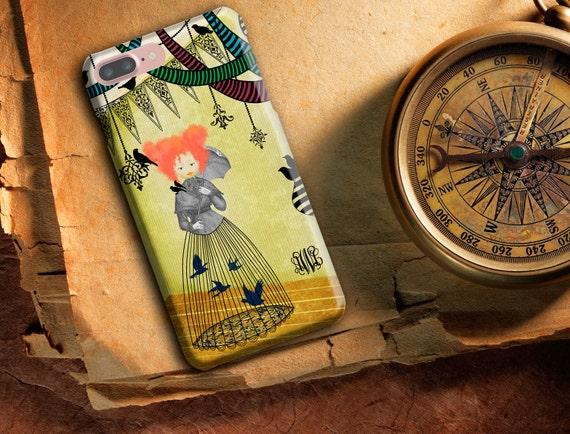 Cas de téléphone art, étui de téléphone lunatique, iPhone 8 / 8p/X/6/6 s/6 Plus / 6 s Plus / 5 s, téléphone LG, rouge aux cheveux fille, oiseaux et l'oiseau cage