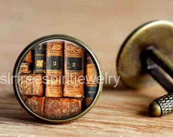 Books, Book Cuff Links, Old Books, Library, Literary gift, Gift for Lawyer, Gift for Student, circle cuff links, gift for men
