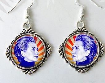 Hillary Clinton, Hillary Clinton Jewelry, Silver Earrings, Political jewelry,  Famous Women, Political figures, Democrat jewelry