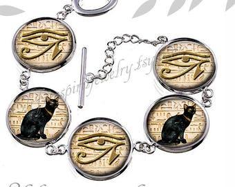 Egyptian Symbols Bracelet, Egyptian Jewelry, Black Cat, Eye of Ra, Egyptian Symbols, Egyptology, Glass Jewelry, Cabochon Jewelry, handmade