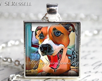 Dog Painting Pendant, Photo Pendant Necklace, Animals, Dog jewelry, cute Jack Russell, digital art necklace, gfit for dog lover, dogs