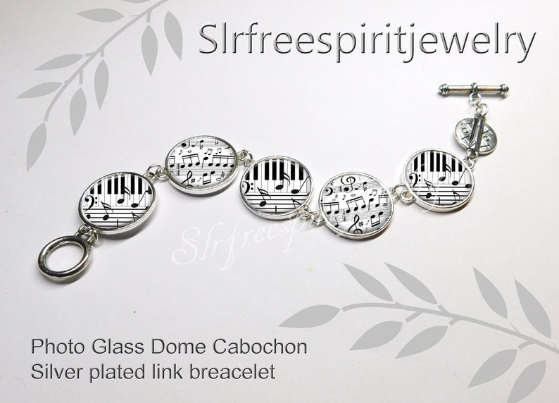 Piano Keys Silver link bracelet Gift for musician photo cabochon jewelry Piano Notes Necklace handmade jewelry Leather cord music