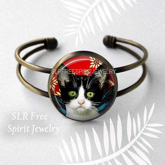 Photo cabochon verre chat noir avec oreilles Collier Pendentifs ( Cute Tabby Cat