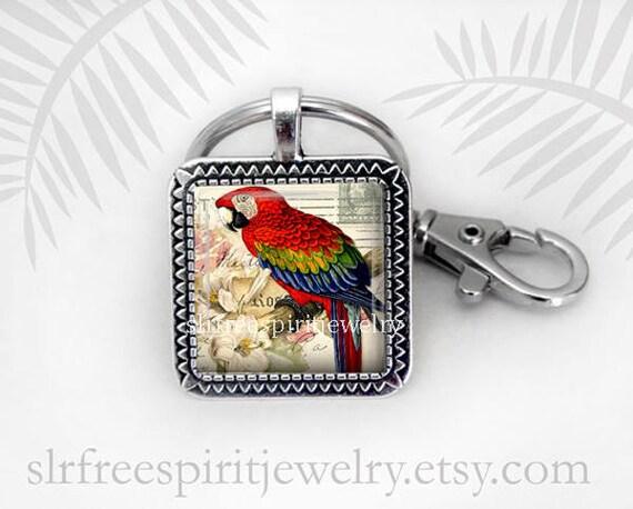 Red Parrot Key Chain Bird Key Chain Tropical Bird Pendant  7c17694d8