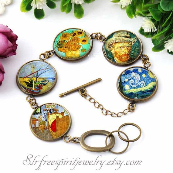 UK VAN GOGH PENDANT NECKLACE Chain Glass Jewellery Art Famous Painting Gift Idea