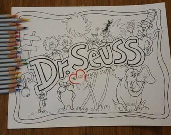 Dr seuss coloring | Etsy