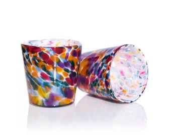 Hand Blown Tumber Glass - Rainbow Mix, Blown Glass Tumbler, Hand blown drink glass, Water Glass, Artisan Pint Glass, Blown Glassware