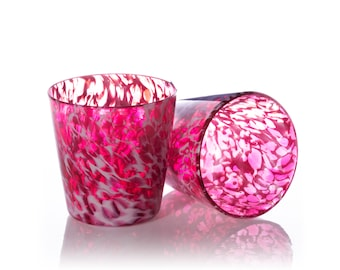 Hand Blown Tumber Glass - Pink Wisp - Blown Glass Tumbler, Hand blown drink glass, Water Glass, Artisan Pint Glass, Blown Glassware
