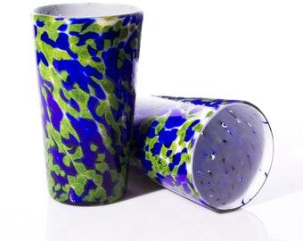 Hand Blown Beer Glass - Sparkle Green & Cobalt - Blown Glassware, Blown Glass Tumbler, blown drink glass, Water Glass, Artisan Pint Glass