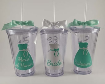 Bridal Tumbler - Personalized Tumbler- Wedding Favor - Bridesmaid Gift - Bachelorette Party - BPA Free - 16oz - Straw and Ribbon