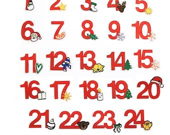 24 Adventskalender-Zahlen zum Aufbügeln, rot