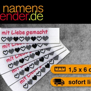 "Aufnäher Textiletiketten /""handmade with love/"" rot-weiss"