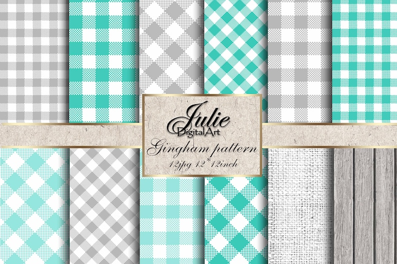 Turquoise Gingham Digital Paper Plaid Teal Background Mint Check Country  Pattern Grey Picnic Tablecloth Background Checkered Gingham Paper